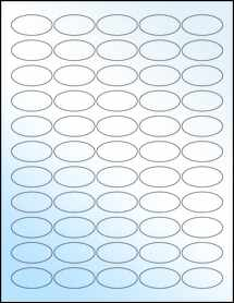 """Sheet of 1.5"""" x 0.75"""" Oval White Gloss Laser labels"""