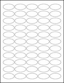 "Sheet of 1.5"" x 0.75"" Oval Standard White Matte labels"
