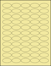 """Sheet of 1.5"""" x 0.75"""" Oval Pastel Yellow labels"""