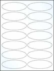 "Sheet of 3.91"" x 1.325"" Oval Clear Gloss Inkjet labels"