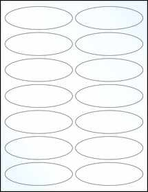"""Sheet of 3.91"""" x 1.325"""" Oval Clear Gloss Laser labels"""