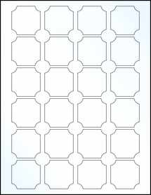 """Sheet of 1.625"""" x 1.625"""" Clear Gloss Laser labels"""
