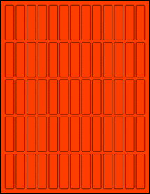 """Sheet of 0.5"""" x 2"""" Fluorescent Red labels"""