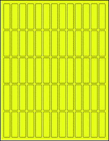 "Sheet of 0.5"" x 2"" Fluorescent Yellow labels"