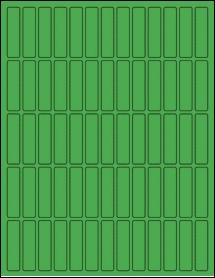 "Sheet of 0.5"" x 2"" True Green labels"