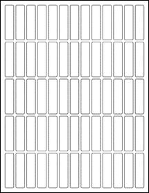"""Sheet of 0.5"""" x 2"""" Weatherproof Matte Inkjet labels"""