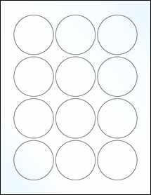 """Sheet of 2.25"""" Circle Clear Gloss Laser labels"""