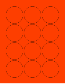 """Sheet of 2.25"""" Circle Fluorescent Red labels"""