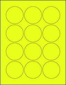 """Sheet of 2.25"""" Circle Fluorescent Yellow labels"""