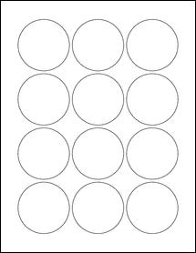 """Sheet of 2.25"""" Circle Weatherproof Gloss Inkjet labels"""