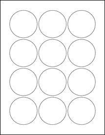 """Sheet of 2.25"""" Circle Removable White Matte labels"""