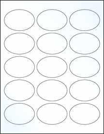 "Sheet of 2.5"" x 1.75"" Oval Clear Gloss Inkjet labels"