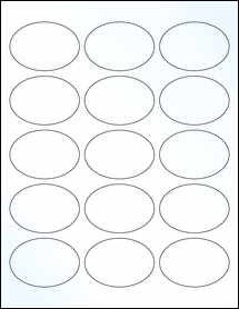 """Sheet of 2.5"""" x 1.75"""" Oval Clear Gloss Laser labels"""