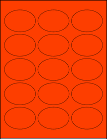 """Sheet of 2.5"""" x 1.75"""" Oval Fluorescent Red labels"""