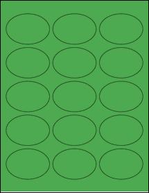 "Sheet of 2.5"" x 1.75"" Oval True Green labels"