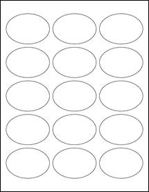 """Sheet of 2.5"""" x 1.75"""" Oval Weatherproof Matte Inkjet labels"""