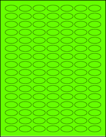 """Sheet of 1"""" x 0.5"""" Small Oval Fluorescent Green labels"""