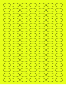 """Sheet of 1"""" x 0.5"""" Small Oval Fluorescent Yellow labels"""