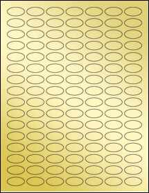 """Sheet of 1"""" x 0.5"""" Small Oval Gold Foil Inkjet labels"""