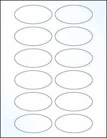 """Sheet of 3"""" x 1.5"""" Oval Clear Gloss Laser labels"""