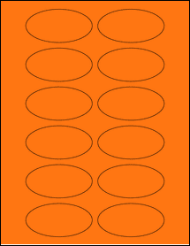 "Sheet of 3"" x 1.5"" Oval Fluorescent Orange labels"