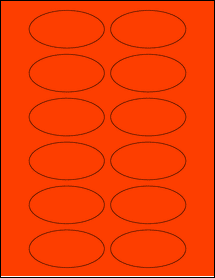 """Sheet of 3"""" x 1.5"""" Oval Fluorescent Red labels"""