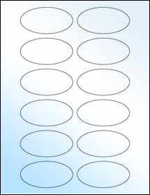 """Sheet of 3"""" x 1.5"""" Oval White Gloss Laser labels"""