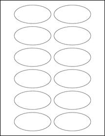 "Sheet of 3"" x 1.5"" Oval Standard White Matte labels"