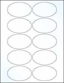 "Sheet of 3.25"" x 2"" Oval Clear Gloss Inkjet labels"