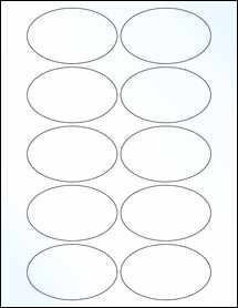 """Sheet of 3.25"""" x 2"""" Oval Clear Gloss Laser labels"""