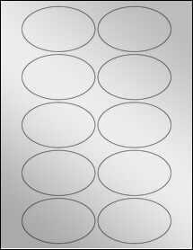 """Sheet of 3.25"""" x 2"""" Oval Silver Foil Inkjet labels"""