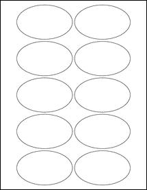 """Sheet of 3.25"""" x 2"""" Oval Weatherproof Matte Inkjet labels"""