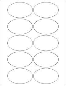 """Sheet of 3.25"""" x 2"""" Oval Removable White Matte labels"""
