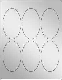 """Sheet of 2.5"""" x 4.25"""" Oval Silver Foil Inkjet labels"""