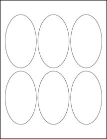 """Sheet of 2.5"""" x 4.25"""" Oval Weatherproof Gloss Inkjet labels"""