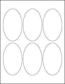 """Sheet of 2.5"""" x 4.25"""" Oval Removable White Matte labels"""