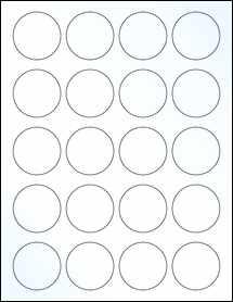 "Sheet of 1.75"" Circle Clear Gloss Inkjet labels"