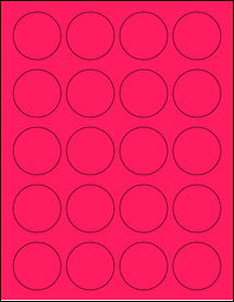 """Sheet of 1.75"""" Circle Fluorescent Pink labels"""