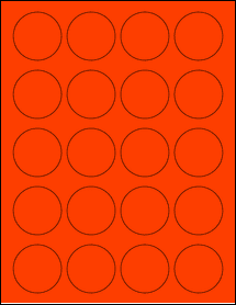 """Sheet of 1.75"""" Circle Fluorescent Red labels"""