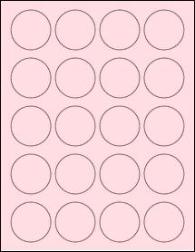 """Sheet of 1.75"""" Circle Pastel Pink labels"""