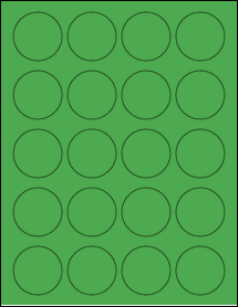 "Sheet of 1.75"" Circle True Green labels"