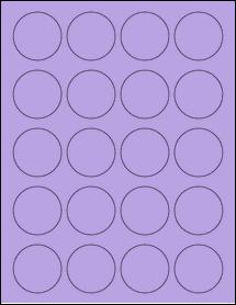 "Sheet of 1.75"" Circle True Purple labels"