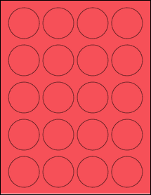 """Sheet of 1.75"""" Circle True Red labels"""