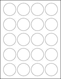 """Sheet of 1.75"""" Circle Weatherproof Gloss Inkjet labels"""