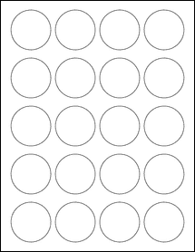 """Sheet of 1.75"""" Circle Removable White Matte labels"""