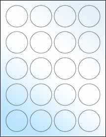 "Sheet of 1.75"" Circle White Gloss Laser labels"