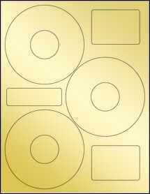 """Sheet of 4.52"""" CD Gold Foil Inkjet labels"""