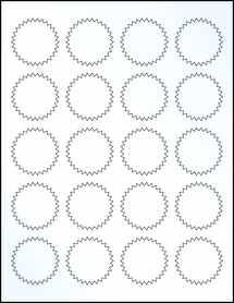 "Sheet of 1.75"" Starburst Clear Gloss Laser labels"