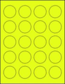"Sheet of 1.75"" Starburst Fluorescent Yellow labels"