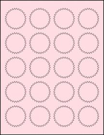 """Sheet of 1.75"""" Starburst Pastel Pink labels"""